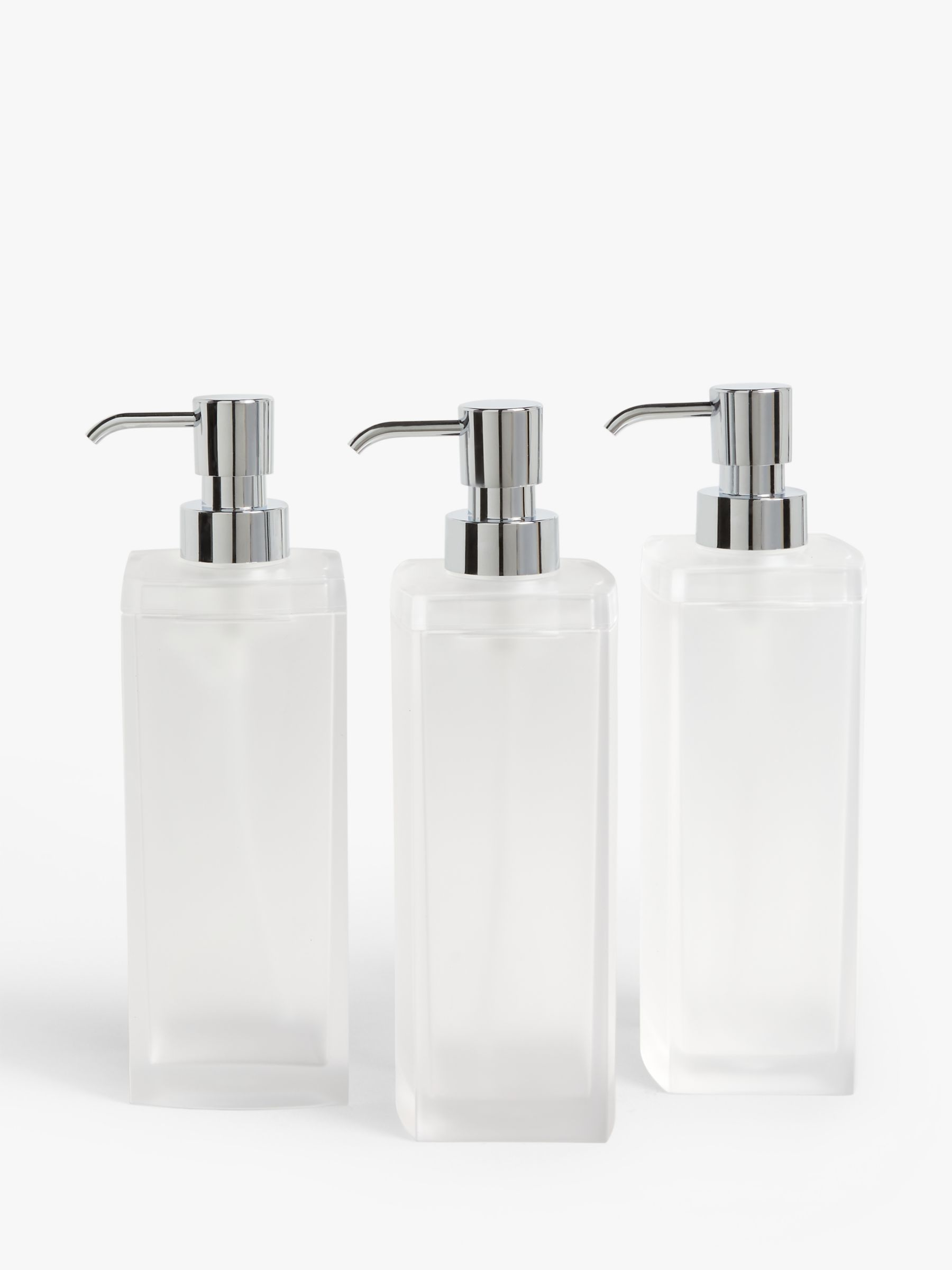 John Lewis & Partners Frosted Soap Pump, Large, Set of 3