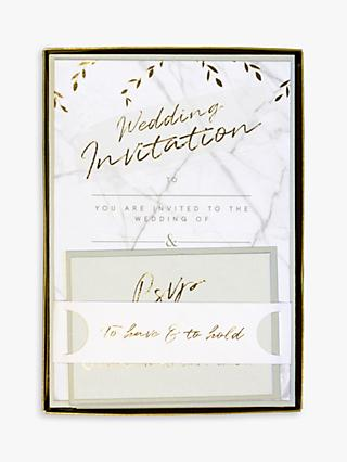John Lewis & Partners Marble Wedding Invitations, Pack of 10