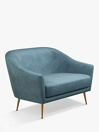 John Lewis & Partners Ellipse Petite 2 Seater Sofa, Gold Leg, Teal Velvet