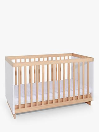 John Lewis & Partners Scandi Solution Cotbed, White/Natural