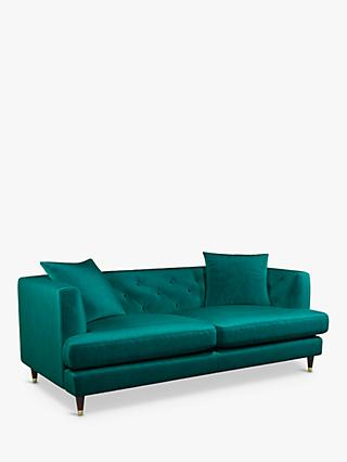 Chester Range, John Lewis & Partners Chester Large 3 Seater Sofa, Dark Leg with Gold Tip, Harriet Teal