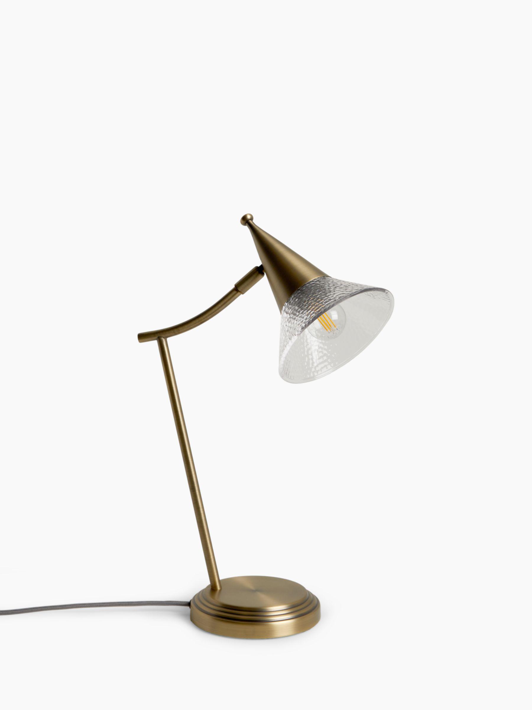 John Lewis & Partners Trumpet Touch Desk Lamp, Antique Brass