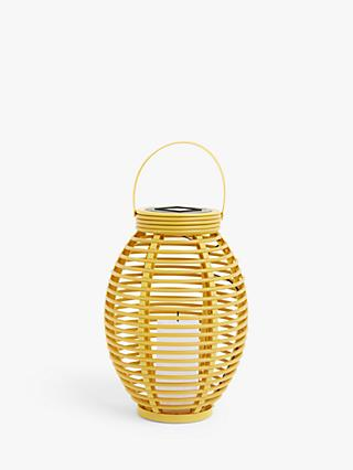 John Lewis & Partners Salsa Rattan Solar Powered LED Outdoor Lantern, Saffron