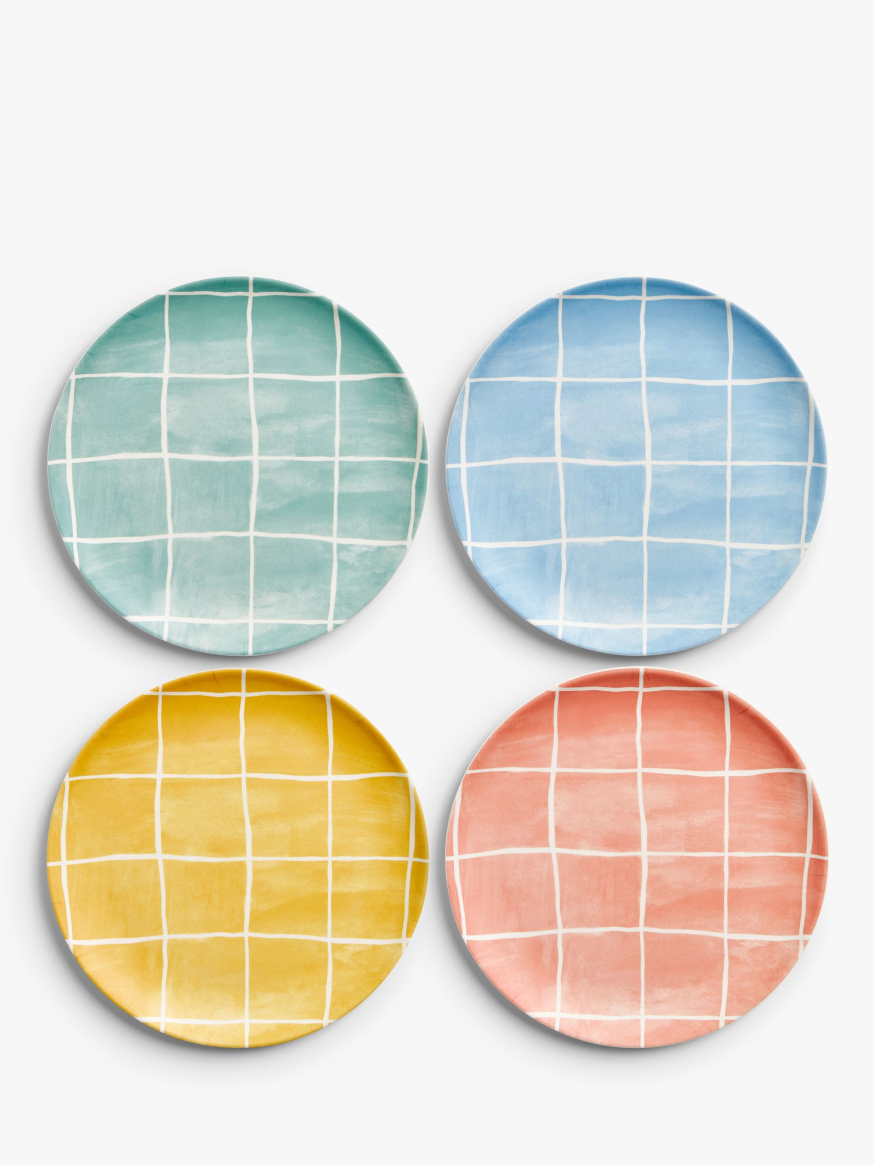John Lewis & Partners Bamboo Picnic Patterned Side Plates, Set of 4, 20cm, Assorted