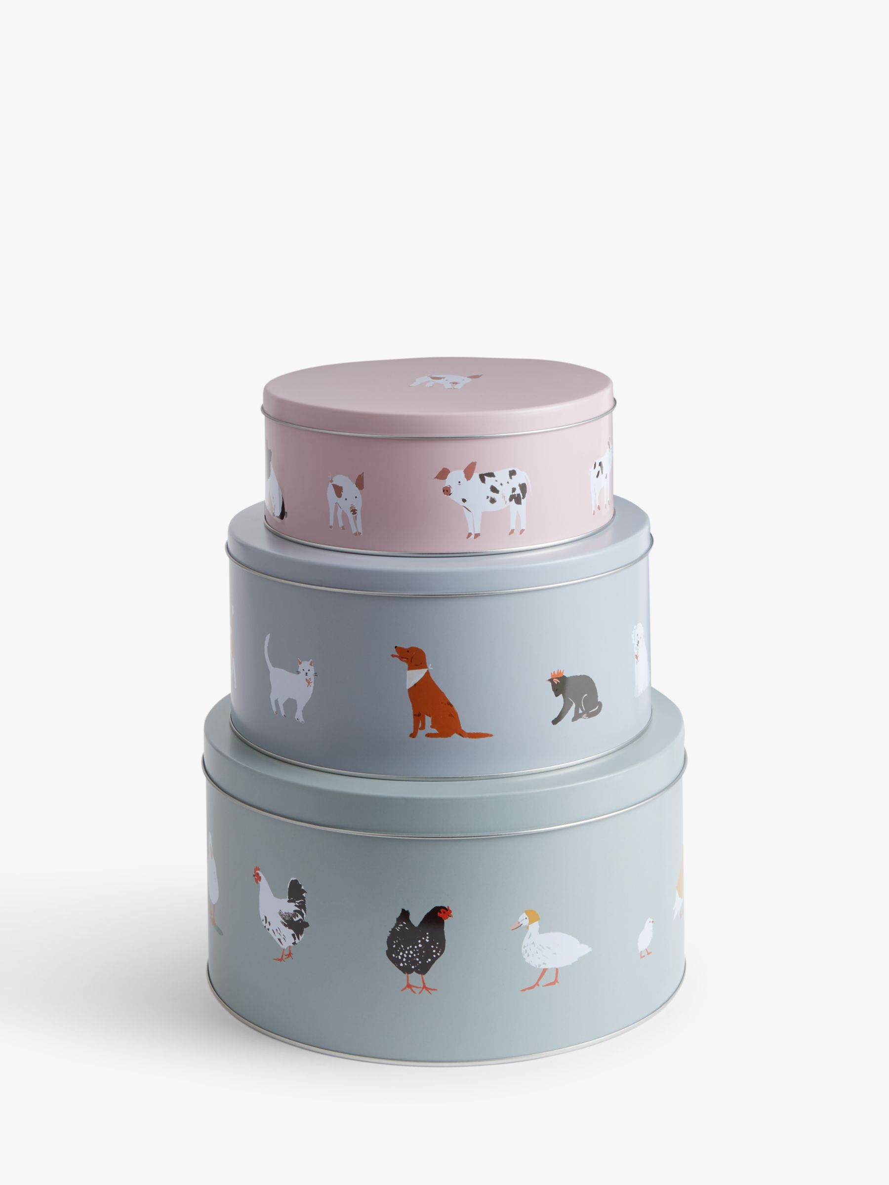 John Lewis & Partners Farm & Pet Animal Print Cake Tins, Set of 3, Multi