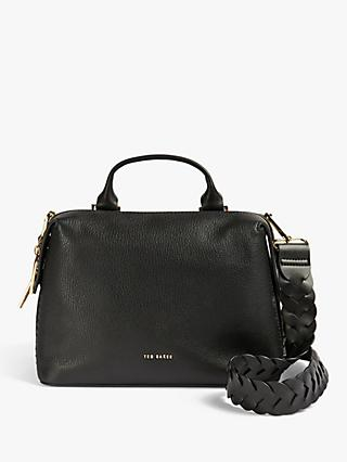 Ted Baker Pipina Braided Handle Leather Tote Bag, Black