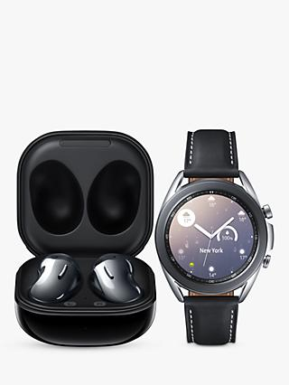 Samsung Galaxy Watch 3, Bluetooth, 41mm, Stainless Steel with Leather Strap, Mystic Silver & Samsung Galaxy Buds Live with Qi-Compatible Wireless Charging, Mystic Black (Bundle)