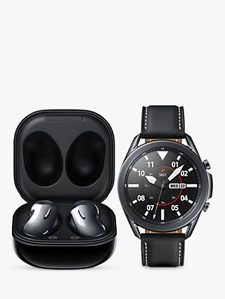 Samsung Galaxy Watch 3, Bluetooth, 45mm, Stainless Steel with Leather Strap, Mystic Black & Samsung Galaxy Buds Live with Qi-Compatible Wireless Charging, Mystic Black (Bundle)