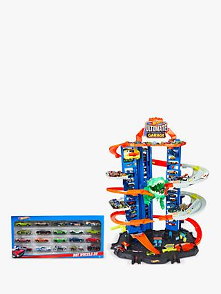 Hot Wheels City Ultimate Garage Track Set Bundle with Hot Wheels Character Cars, Pack of 20