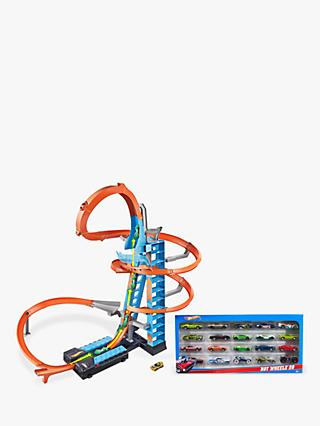 Hot Wheels Sky Crash Tower Track Set Bundle with Hot Wheels Character Cars, Pack of 20