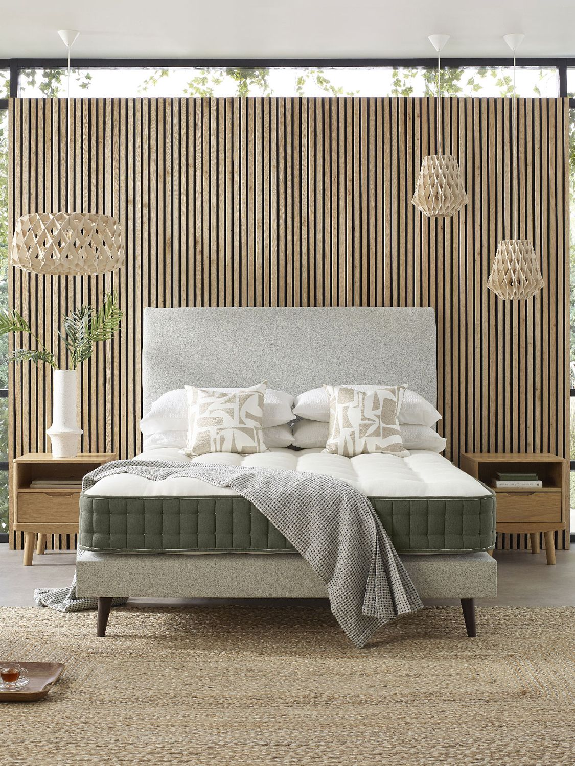 John Lewis & Partners EcoMattress™, Headboard and Slim Divan Base Set, Medium Tension, Double, Pale Grey