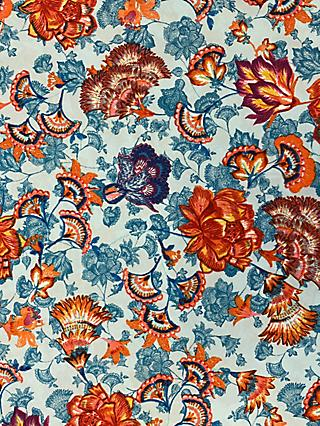Marvic Fabrics Floral Print Fabric, Orange/Blue
