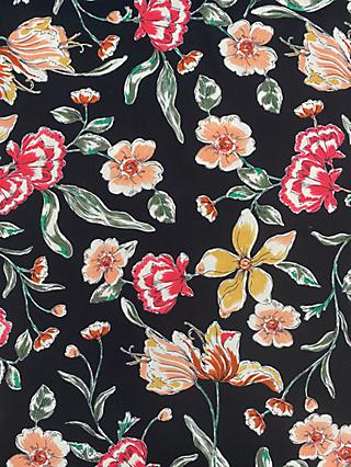 Marvic Fabrics Peach Flowers Print Fabric, Black