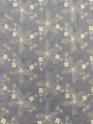 Marvic Fabrics Embroidered Flowers Fabric, Blue Chambray