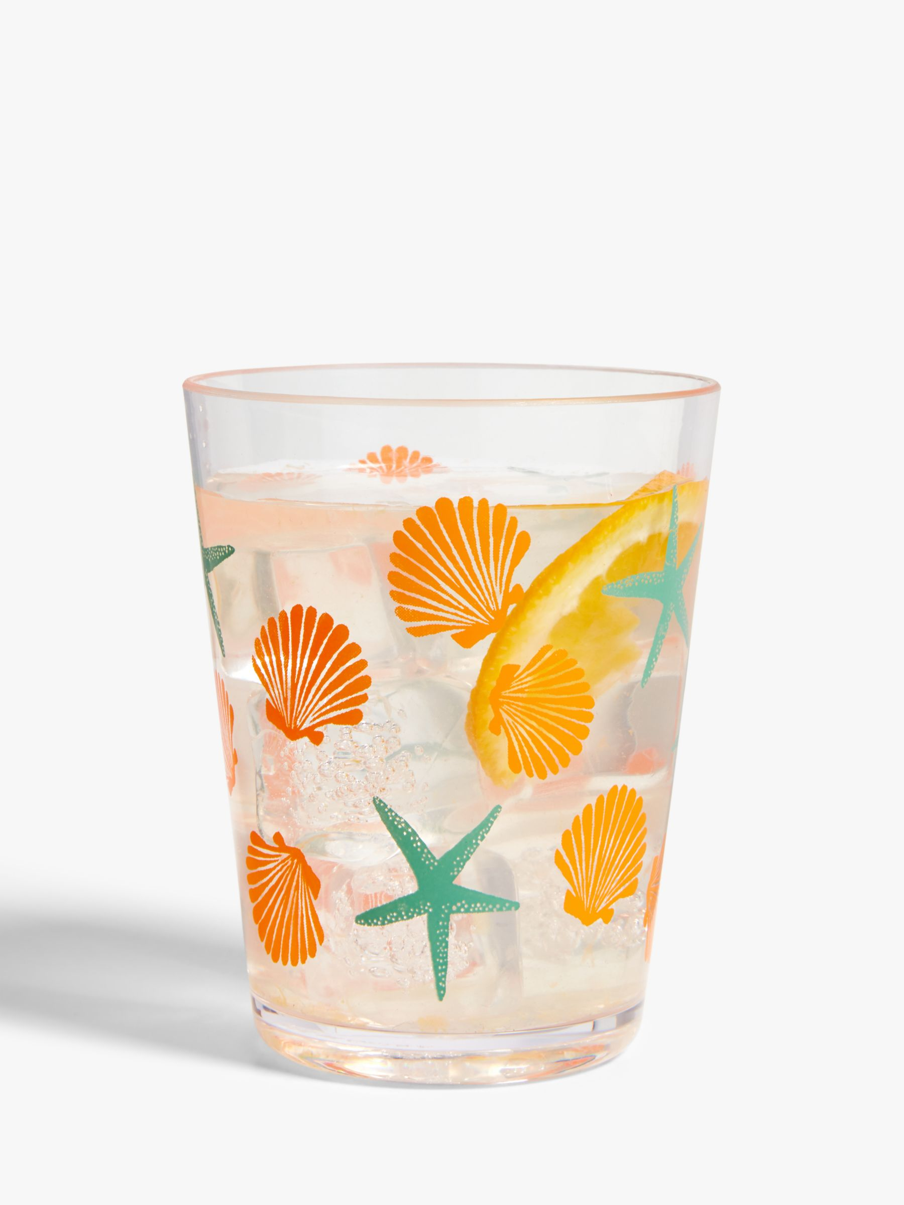 John Lewis & Partners Fun Plastic Tumblers, 400ml, Set of 4, Clear/Multi