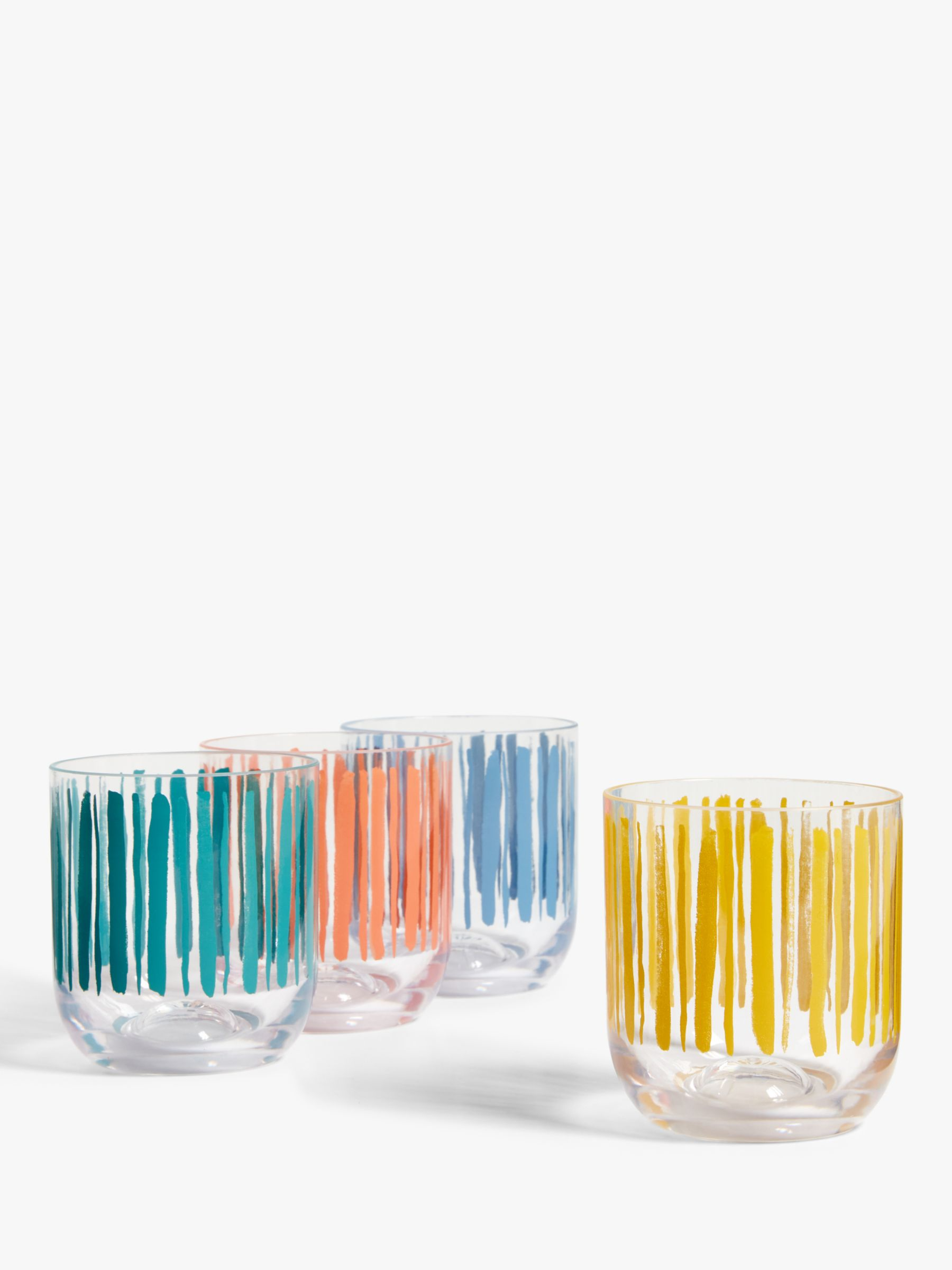 John Lewis & Partners Striped Plastic Tumblers, Set of 4, 400ml, Clear/Multi
