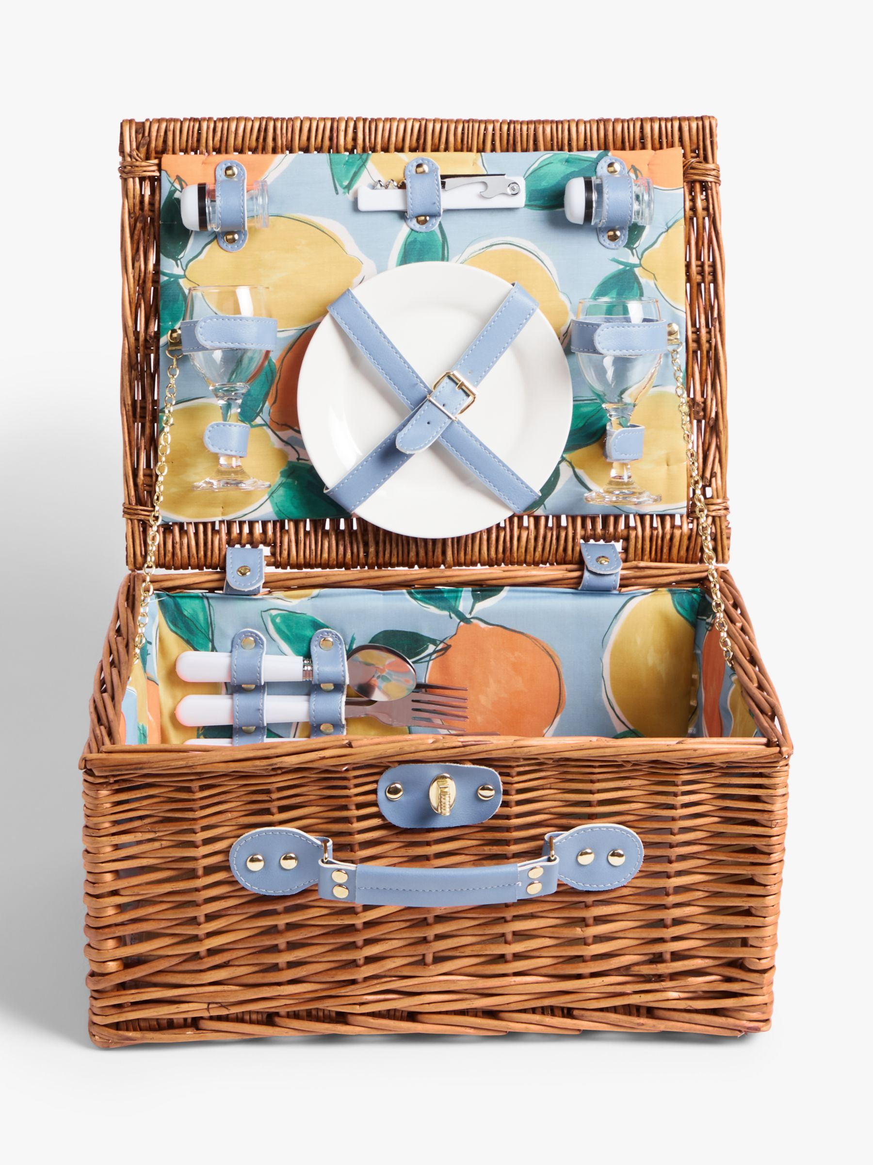 John Lewis & Partners Arles Lemons Filled Willow Wicker Picnic Hamper, 2 Person