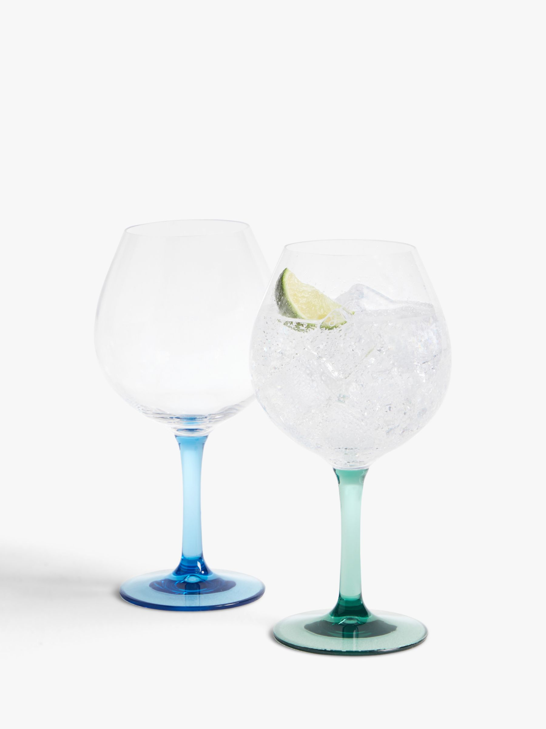 John Lewis & Partners Plastic Gin Glass, Set of 2, 650ml, Blue/Green