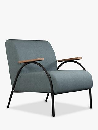 Bridge Range, John Lewis & Partners Bridge Armchair, Black Frame, Storm Blue Cord