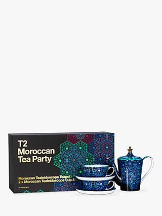 T2 Moroccan Tealeidoscope 500ml Teapot & Cup & Saucer Tea Party Set, Aqua
