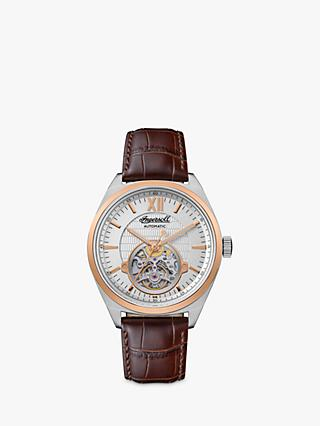 Ingersoll I10901 Men's The Shelby Automatic Heartbeat Leather Strap Watch, Brown/Silver