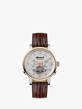 Ingersoll I00701B Men's The Grafton Automatic Chronograph Heartbeat Leather Strap Watch, Brown/Silver