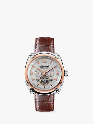 Ingersoll I01103B Men's The Michigan Automatic Chronograph Heartbeat Leather Strap Watch, Brown/Silver