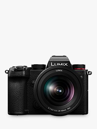"Panasonic Lumix DC-S5 Compact System Camera with 20-60mm Lens, 4K Ultra HD, 24.2MP, Wi-Fi, Bluetooth, Live Viewfinder, 3"" Vari-Angle Touch Screen, Black"