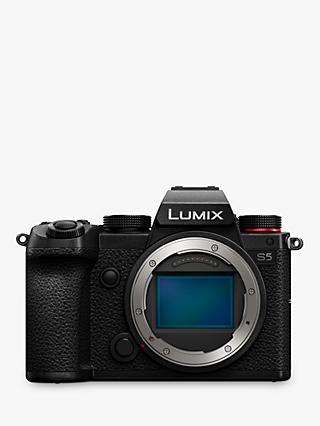 "Panasonic Lumix DC-S5 Compact System Camera, 4K Ultra HD, 24.2MP, Wi-Fi, Bluetooth, Live Viewfinder, 3"" Vari-Angle Touch Screen, Body Only, Black"
