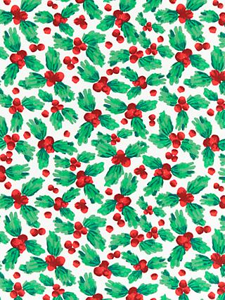 John Lewis & Partners Christmas Holly PVC Tablecloth Fabric
