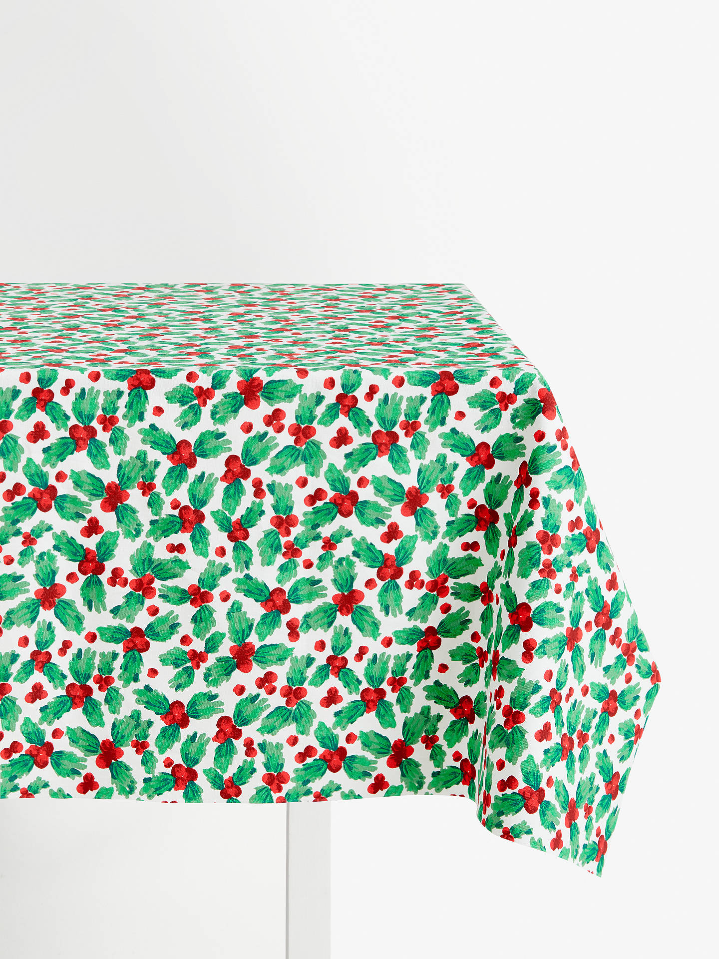 Buy John Lewis & Partners Christmas Holly PVC Tablecloth Fabric Online at johnlewis.com