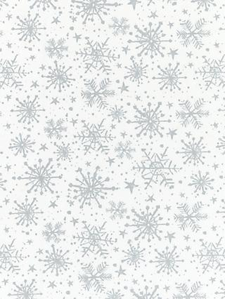John Lewis & Partners Snowflake PVC Tablecloth Fabric, Silver