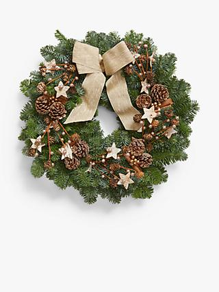 John Lewis & Partners Real Christmas Wreath, Champagne