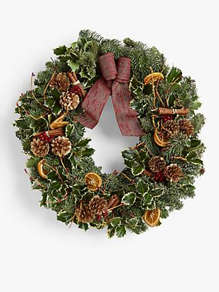 John Lewis & Partners Real Christmas Wreath, Red