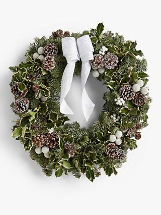 John Lewis & Partners Real Christmas Wreath, White
