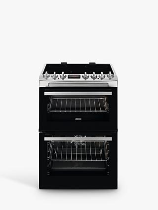 Zanussi ZCV69360XA Double Electric Cooker, Stainless Steel