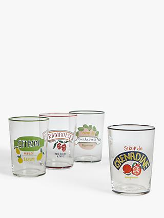 John Lewis & Partners Arles Glass Tumblers, Set of 4, 510ml, Clear/Multi