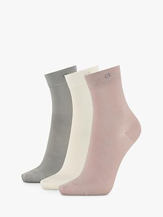 Calvin Klein Light Touch Ankle Socks, Pack of 3