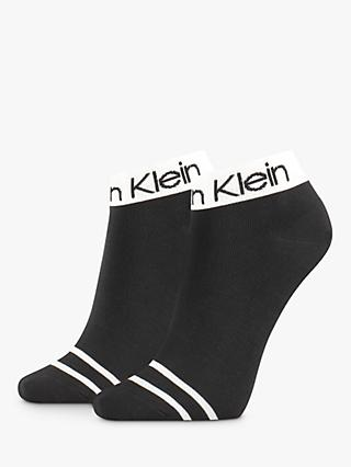 Calvin Klein Zoe Logo and Stripe Short Ankle Socks, Pack of 2, Black