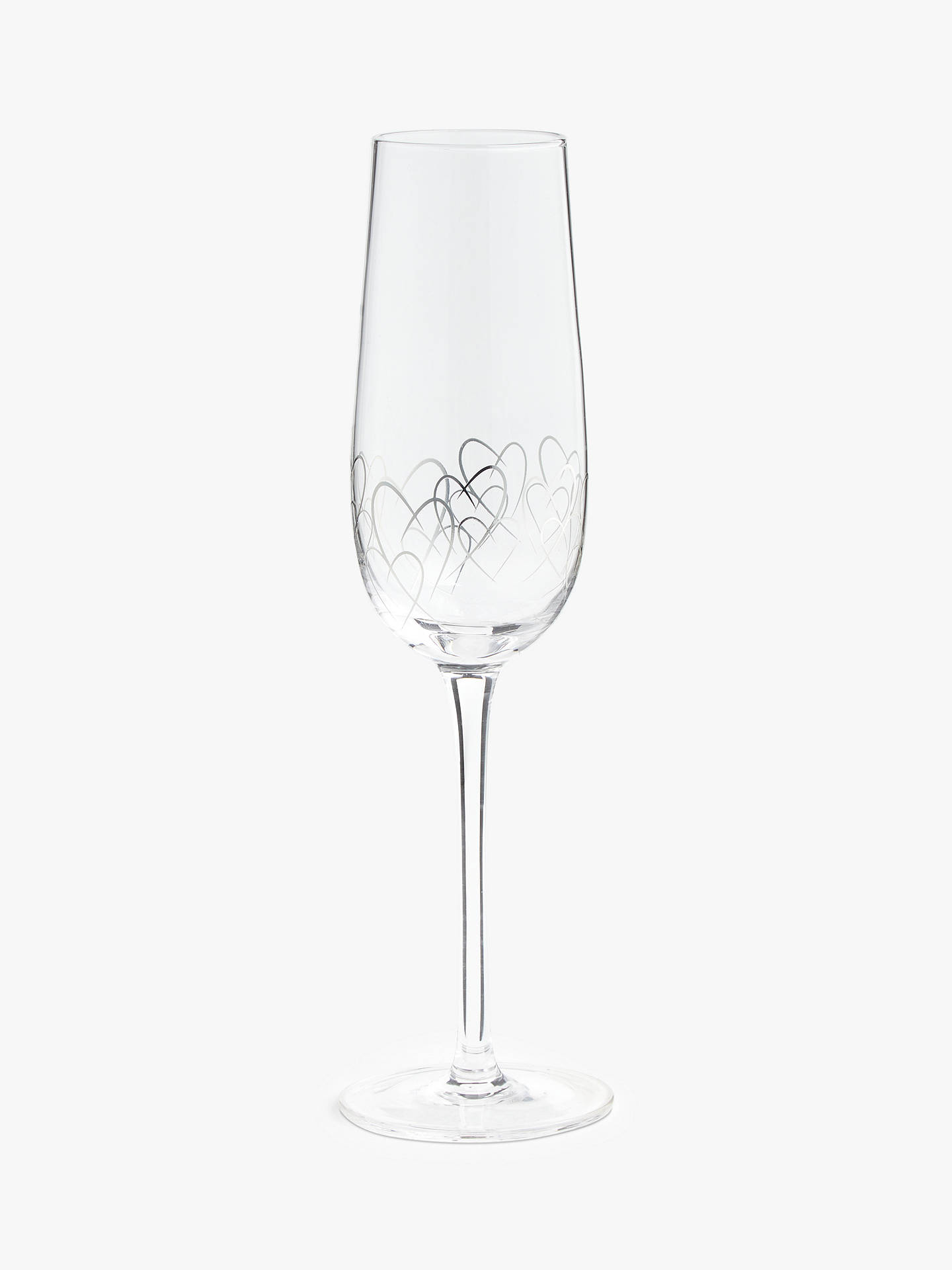 Buy John Lewis & Partners Valentine's Hearts Champagne Flute, 200ml, Silver/Clear Online at johnlewis.com