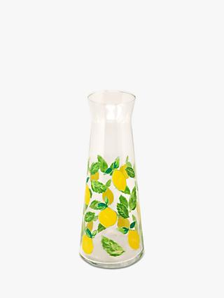 John Lewis & Partners Lemon & Mint Glass Carafe, 1.2L, Clear/Yellow