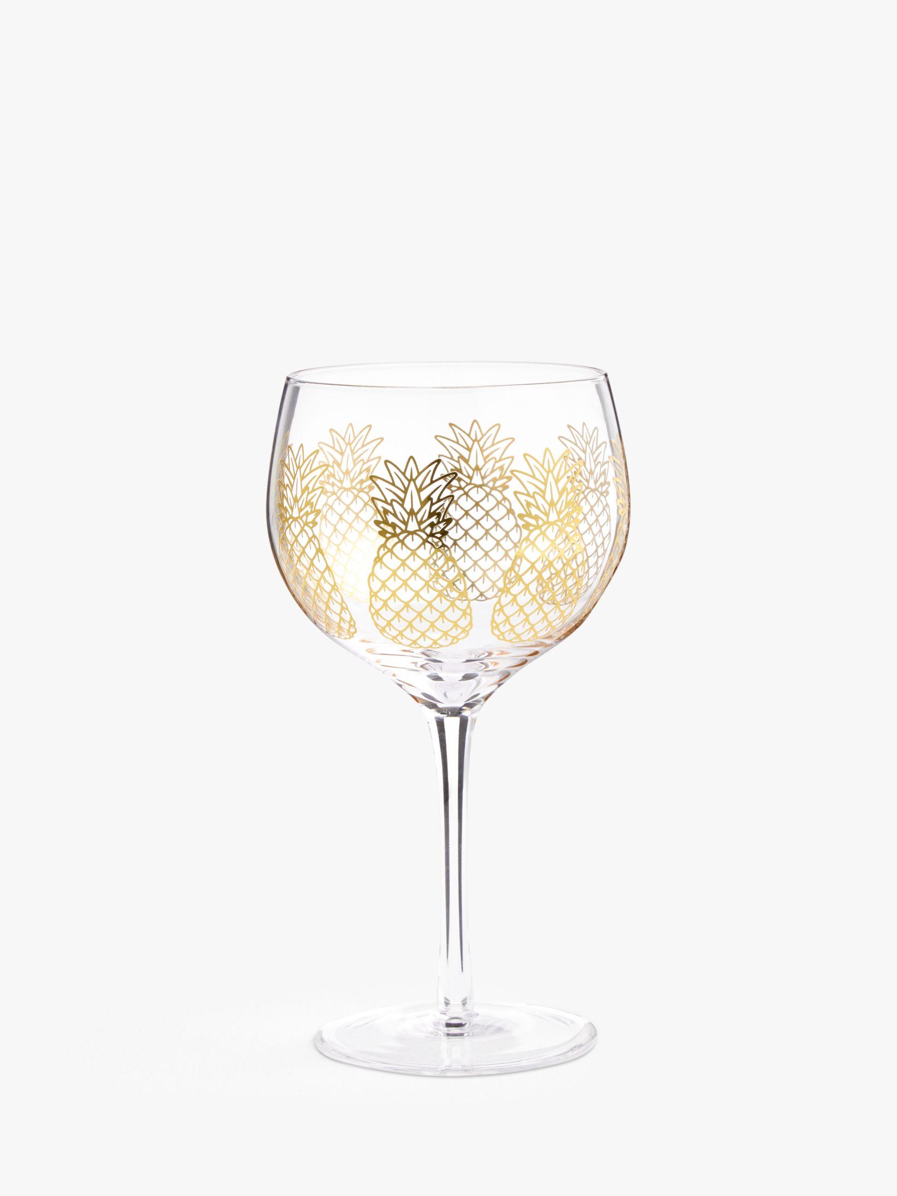 John Lewis & Partners Pineapple Pattern Metallic Gin Glass, 700ml, Gold/Clear