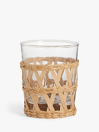 John Lewis & Partners Arles Wicker Wrapped Glass Tumbler, 213ml, Clear/Natural