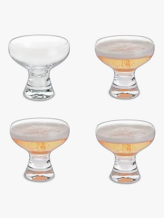 Dartington Crystal Home Bar Coupe Champagne Glasses, 160ml, Set of 4, Clear