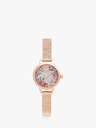 Olivia Burton OB16EG156 Women's British Blooms Mesh Bracelet Strap Watch, Rose Gold/Multi