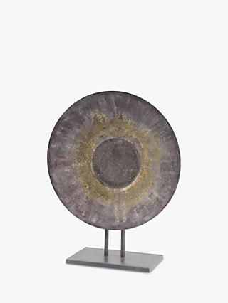 Libra Abstract Round Iron Sculpture, H50cm, Grey/Gold