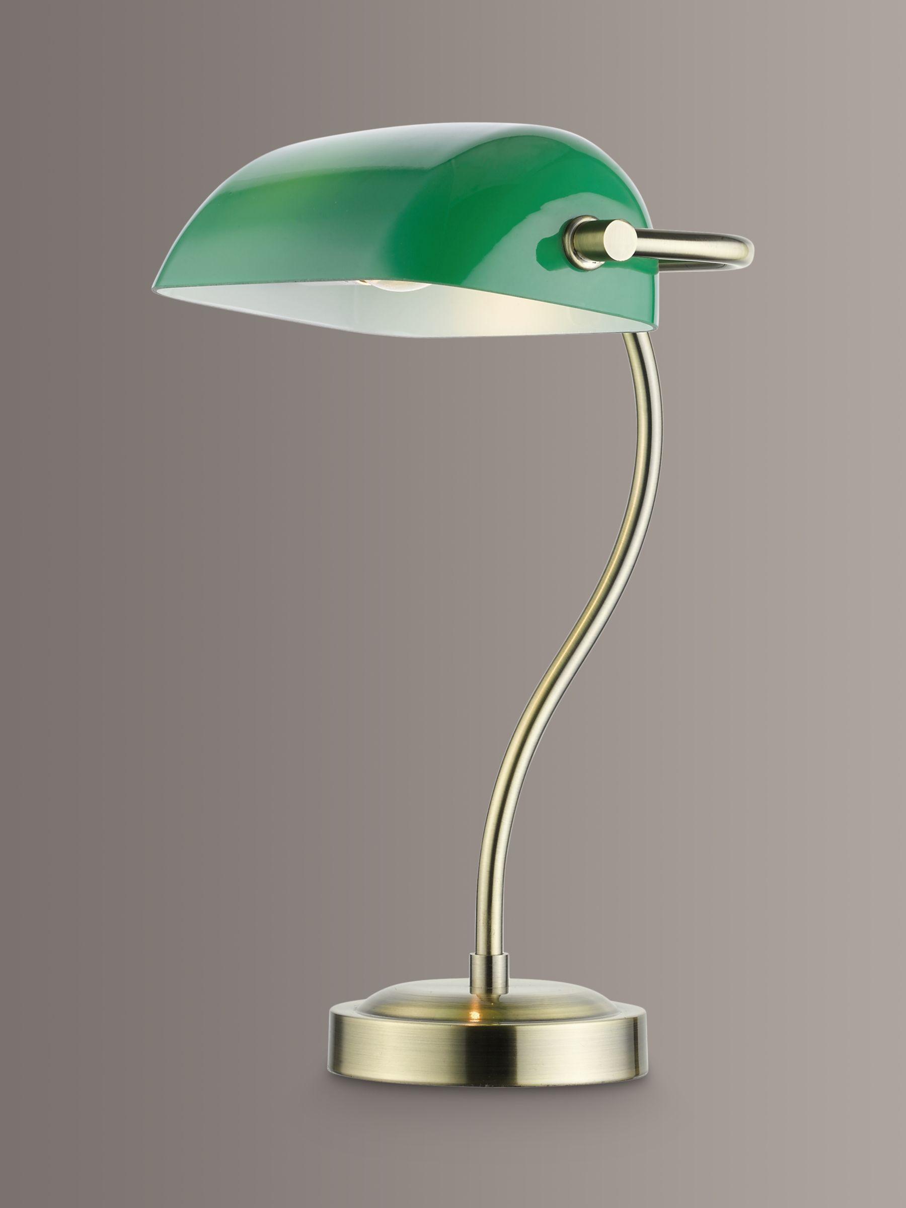 John Lewis & Partners Bankers Desk Lamp, Green/Brass