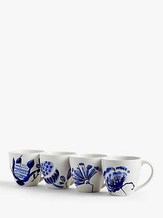 John Lewis & Partners Harbour Floral Mugs, Set of 4, 340ml, Blue
