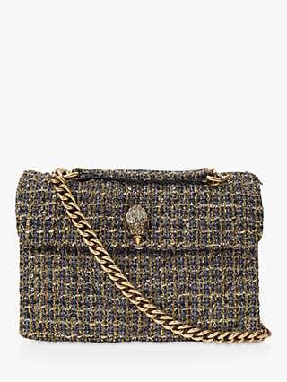 Kurt Geiger London Kensington Tweed Shoulder Bag, Gold