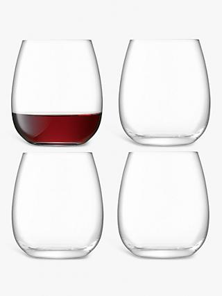 LSA International Borough Stemless Red Wine Glasses, Set of 4, 455ml, Clear